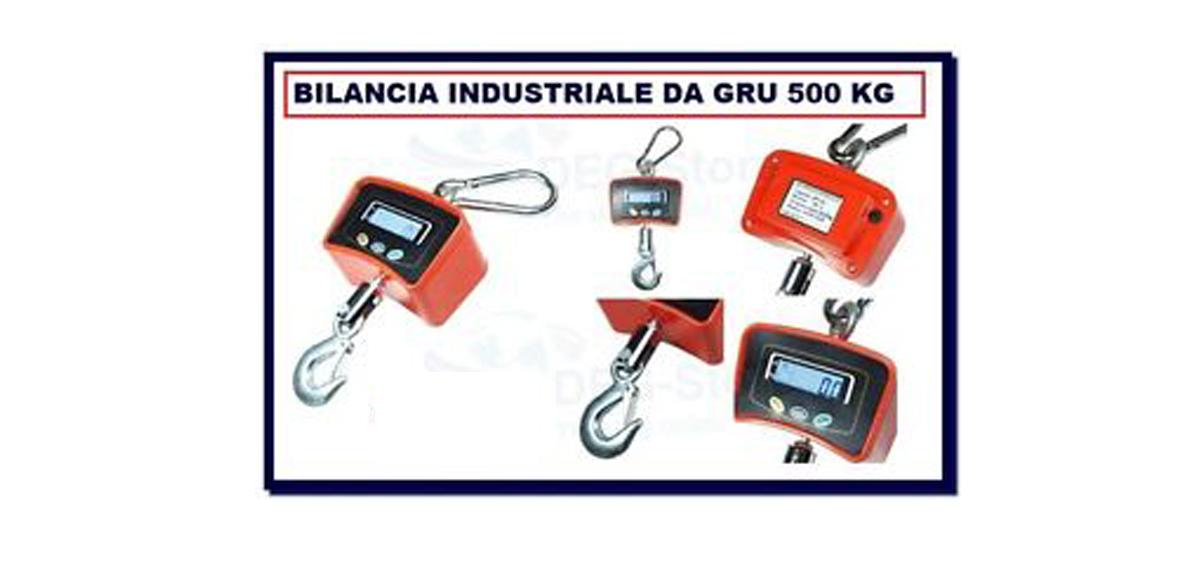 Bilancia digitale professionale da gru con gancio acciaio 500kg industriale
